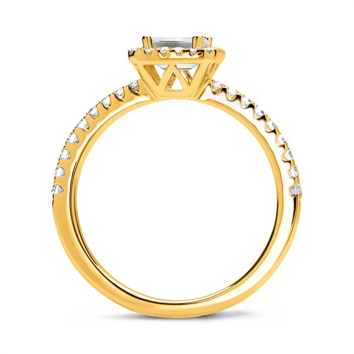 585er Gold Halo Ring mit Diamanten