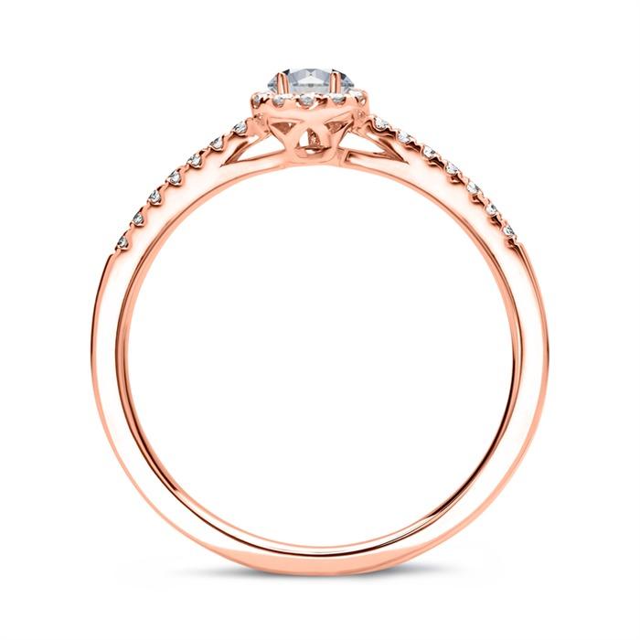 585er Roségold Halo Ring Tropfen Diamanten