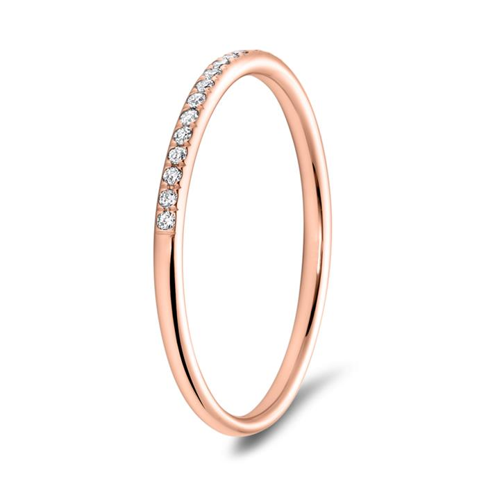 Memoire Ring 750er Roségold 25 Diamanten