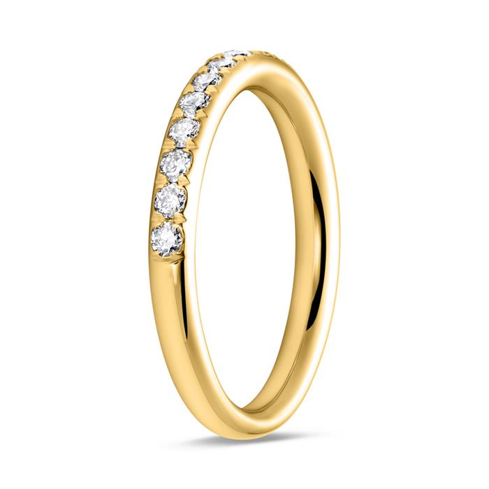 585er Gelbgold Memoire Ring 17 Brillanten