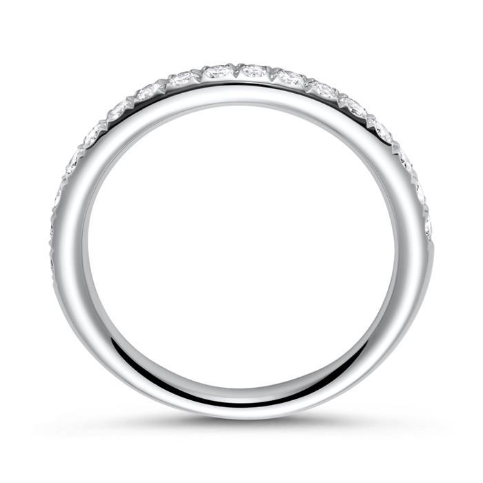 18K Weißgold Memoire Ring 17 Brillanten