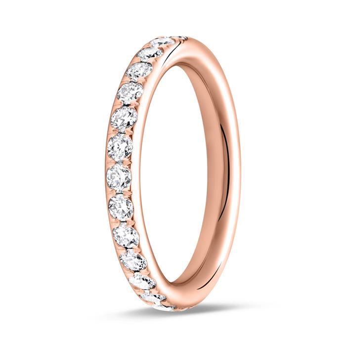 750er Roségold Memoire Ring 28 Diamanten