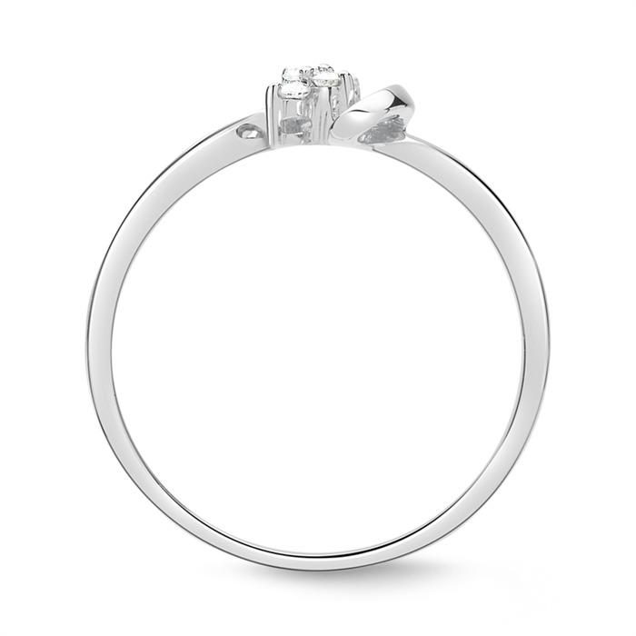 Ring Weißgold 14 Karat 4 Diamanten