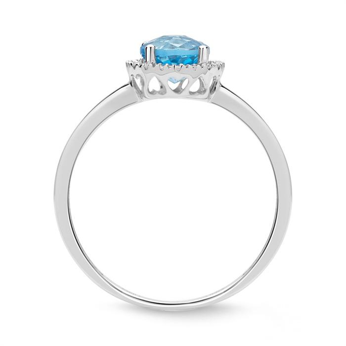 Halo-Ring 14K Weißgold 18 Diamanten Blautopas