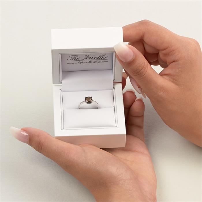 Rauchquarz Damenring Weißgold 14 Karat mit 8 Diamanten