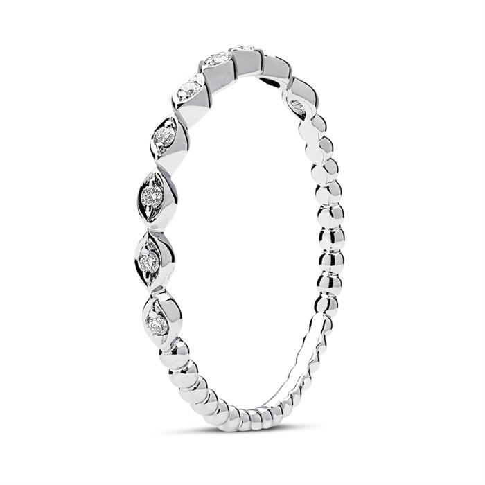 750er Weißgold Ring 9 Diamanten