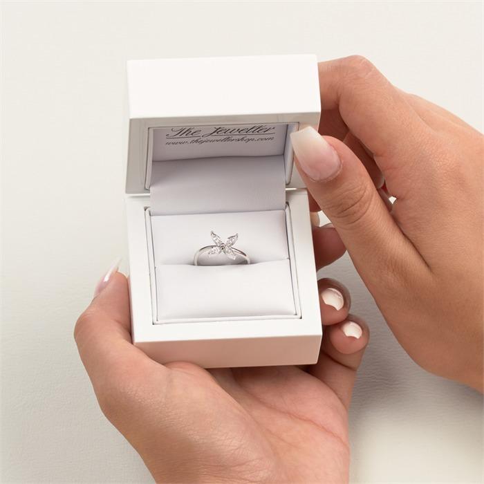Ring 585er Weißgold Blume 12 Diamanten