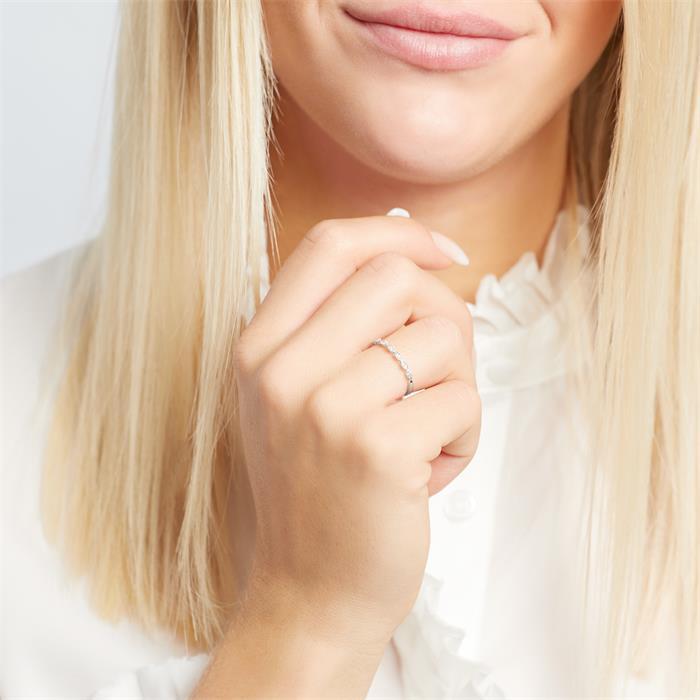 585er Weißgold Ring 14 Brillanten