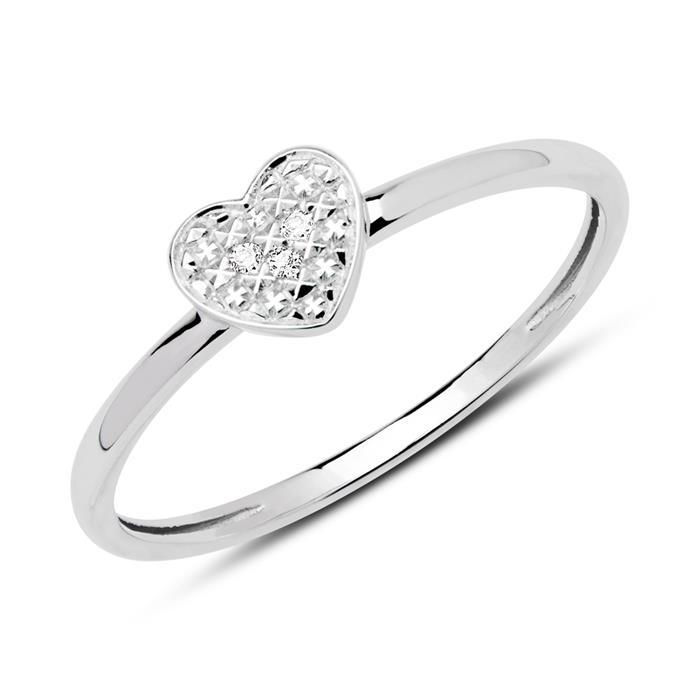 585er Weißgold Ring Herz mit 3 Diamanten