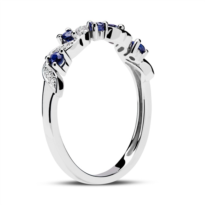 14ct White Gold Ring Diamonds And Sapphires