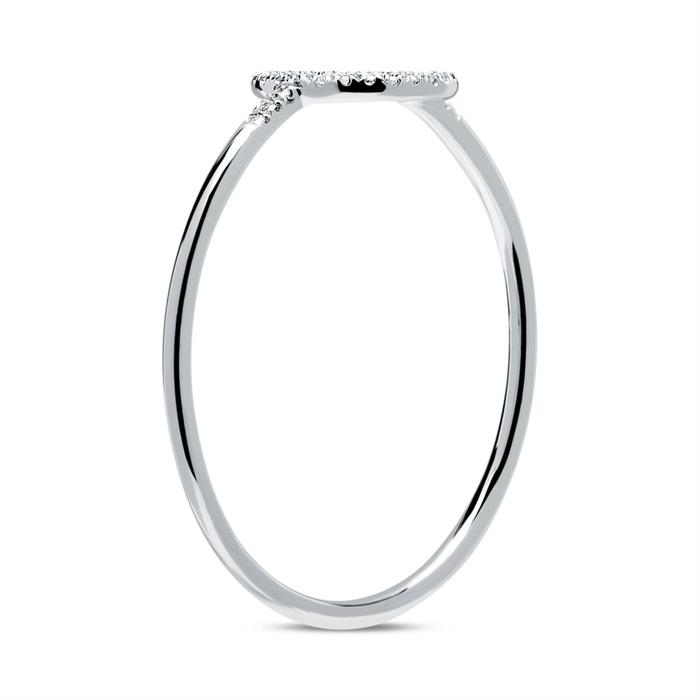 Ring Kreis aus 14K Weißgold mit Diamantbesatz