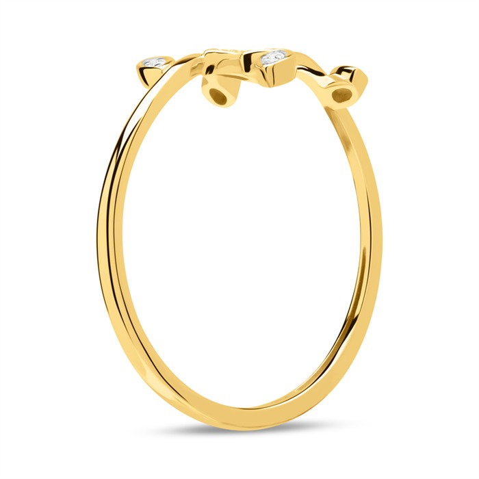 Small Oval Leaf Design Real 14K Yellow Gold Ring