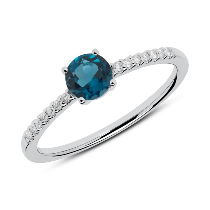 Unique Diamond Ring In 14ct White Gold With Blue Topaz Dr0438