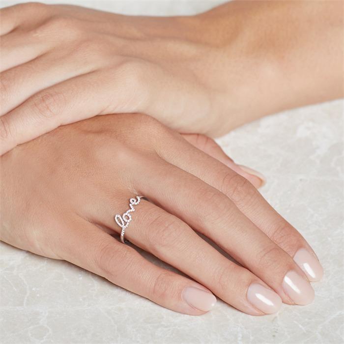 585er Weißgold Ring Love mit Diamanten