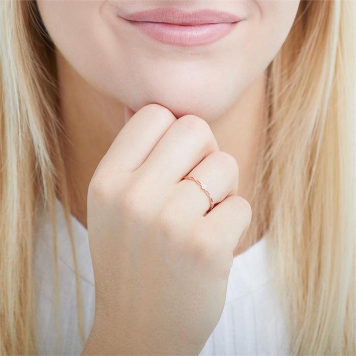 585er Roségold Ring mit Weißtopas