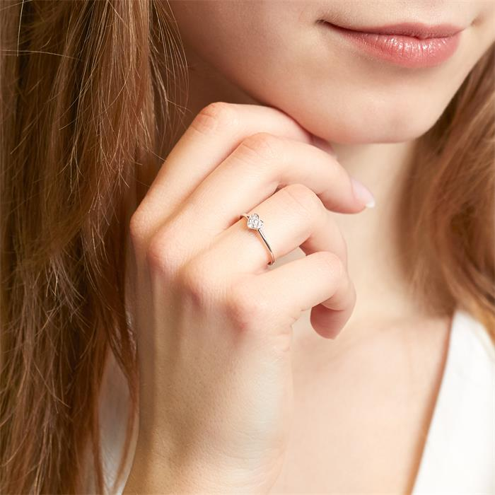 Herzring aus 585er Weißgold mit Diamanten