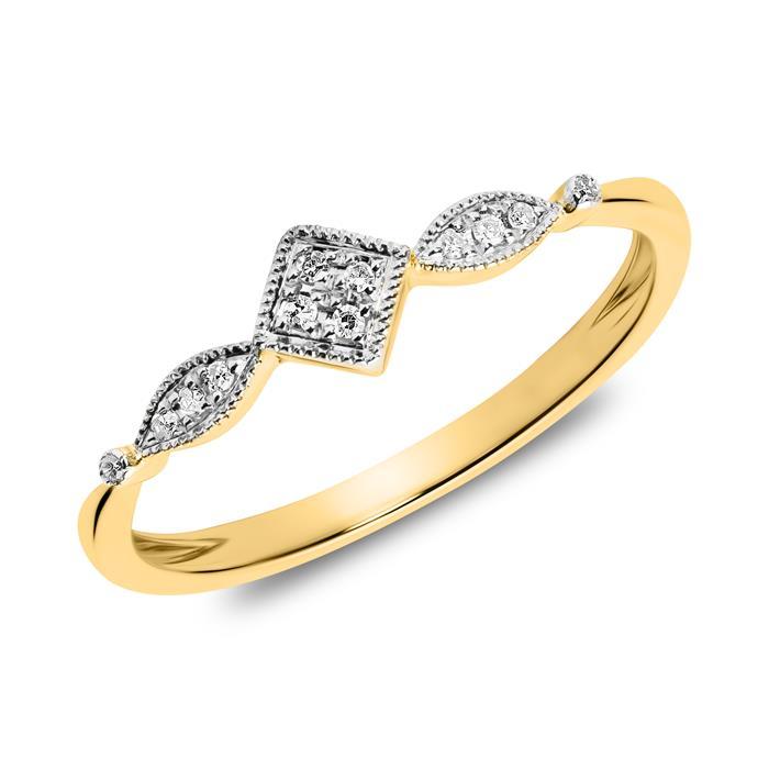 14-karätiger Goldring mit Diamanten