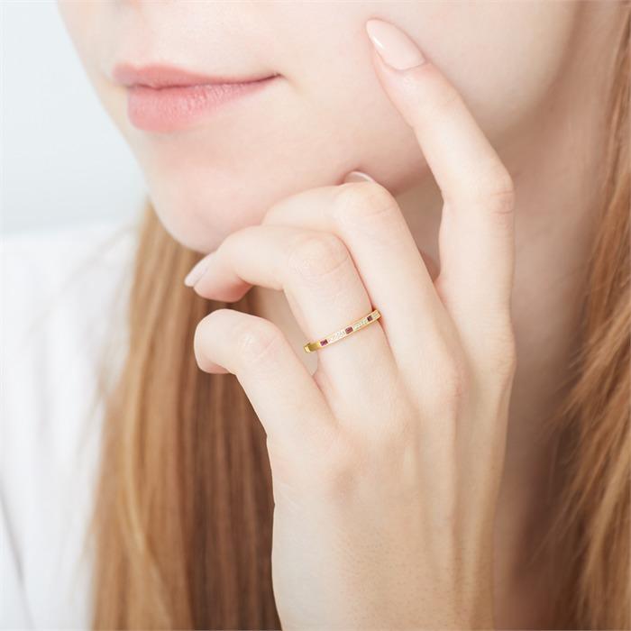 585er Gold Ring mit Rubinen und Diamanten