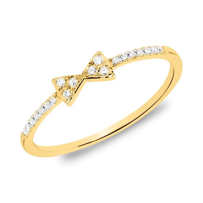 585er Goldring Schleife mit Diamanten