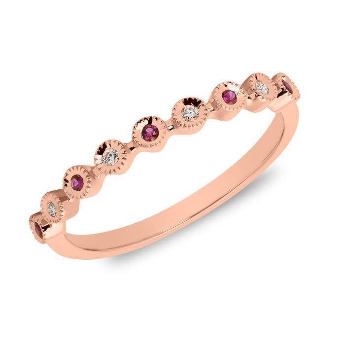 585er Roségold Ring mit Rubinen und Diamanten