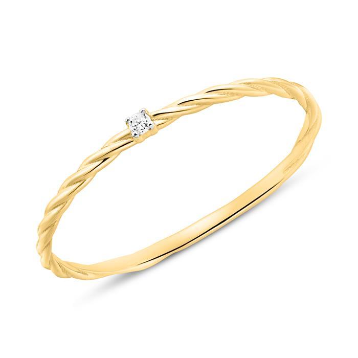Ring für Damen aus 14K Gold mit Diamant