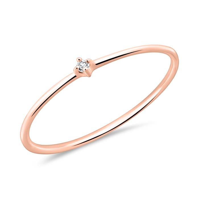 Ring For Ladies In 14-Carat Rose Gold With White Topaz