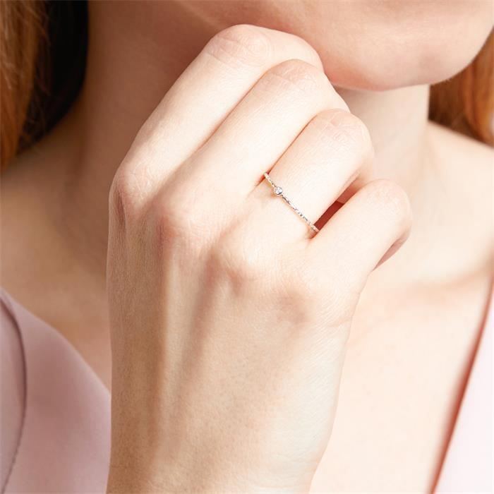Ring für Damen aus 14K Weißgold mit Weißtopasen