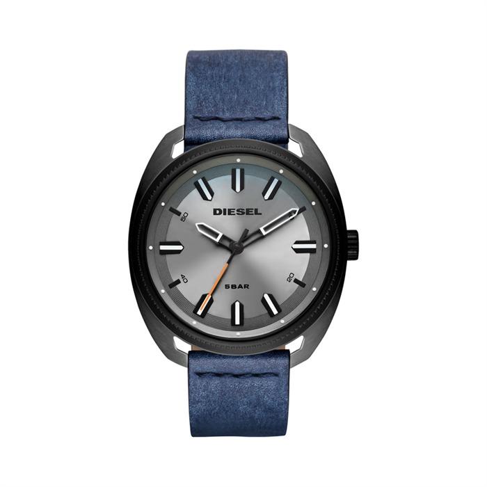 Herrenuhr Fastbak grau-blaues Lederband