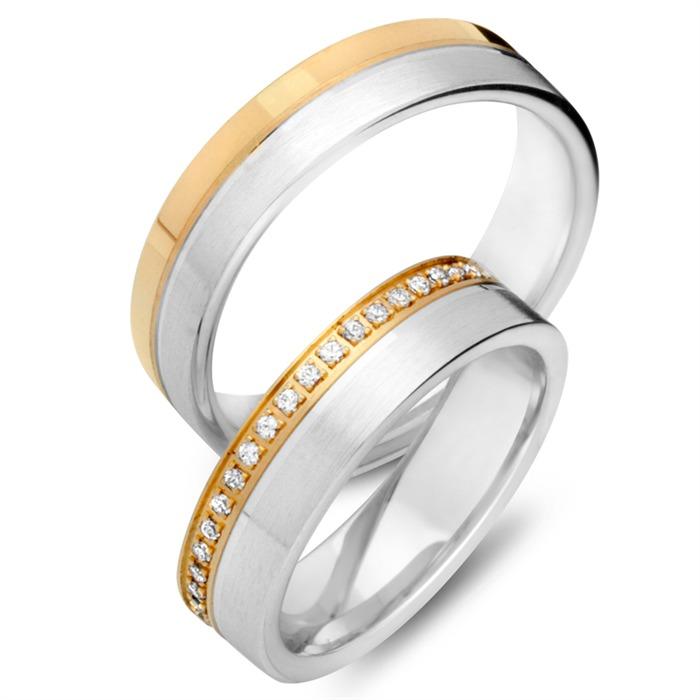 Trauringe 333er Gelb- Weissgold 42 Diamanten