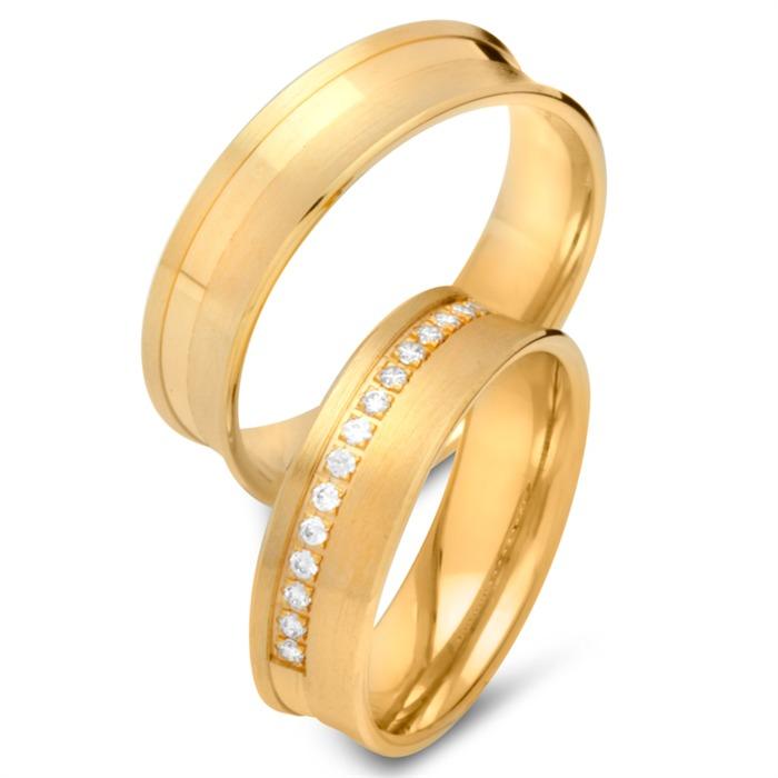 Eheringe 333er Gelbgold 15 Diamanten