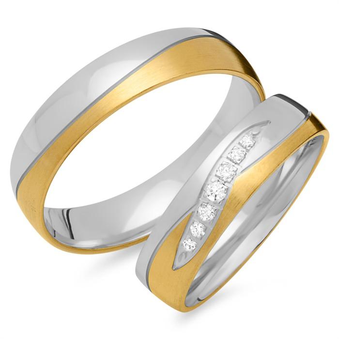 Eheringe 750er Gelb- Weissgold 7 Diamanten