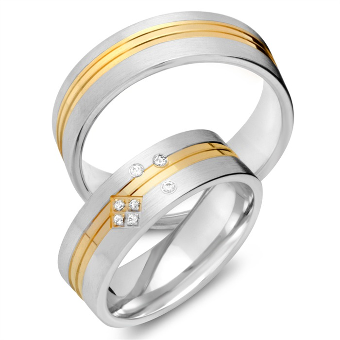 Trauringe 750er Gelb- Weissgold 7 Diamanten