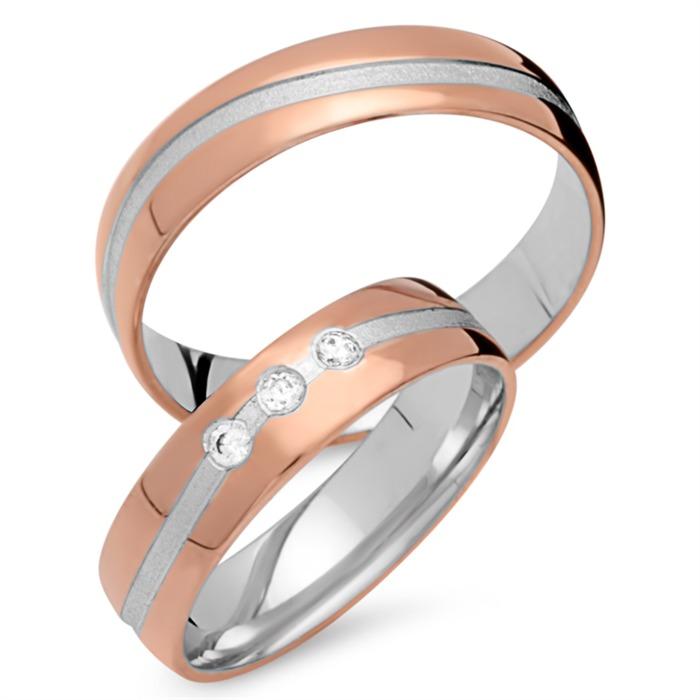 Trauringe 585er Rot- Weissgold 3 Diamanten