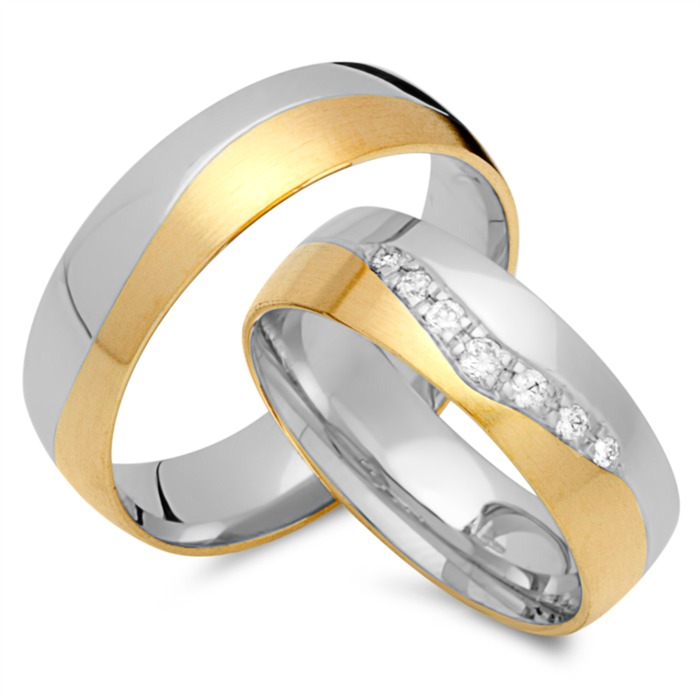 Eheringe 585er Gelb- Weissgold 7 Diamanten
