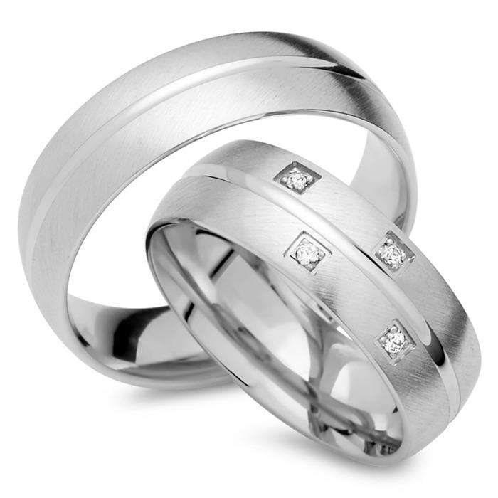 Trauringe 333er Weissgold 4 Diamanten