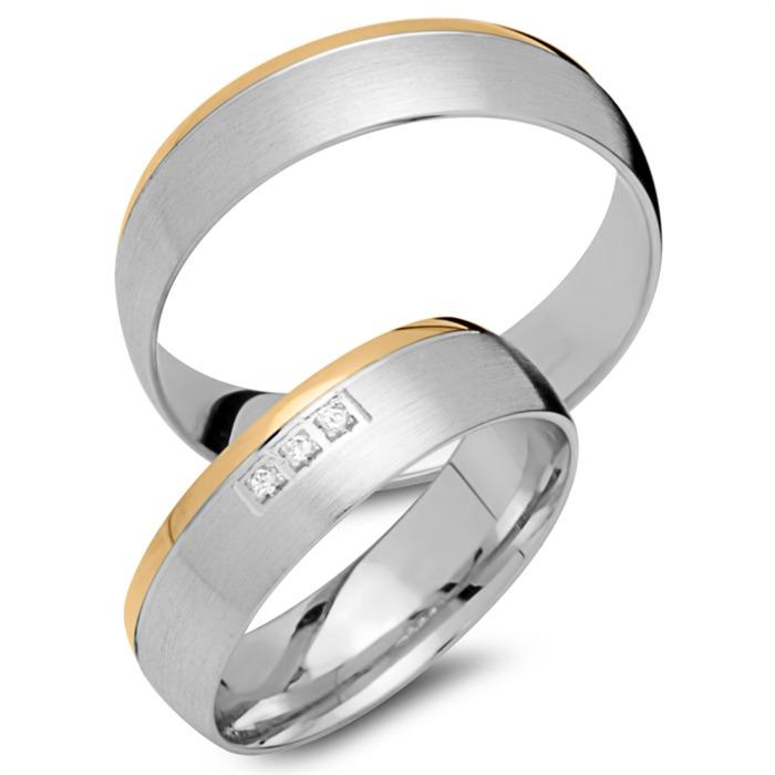 Eheringe 750er Gelb- Weissgold 5 Diamanten