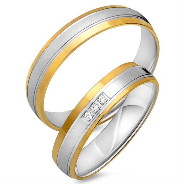 Trauringe 333er Gelb- Weissgold 3 Diamanten