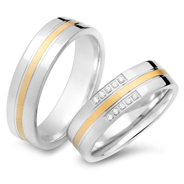 Eheringe 750er Gelb- Weissgold 10 Diamanten