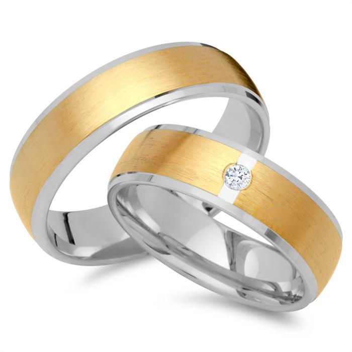 Eheringe 750er Gelb- Weissgold mit Diamant