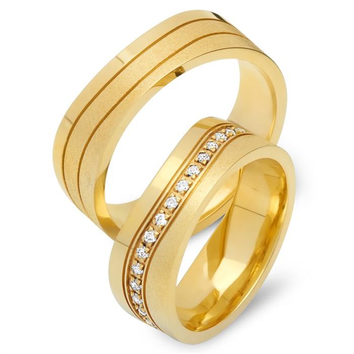 Trauringe 750er Gelbgold 34 Diamanten