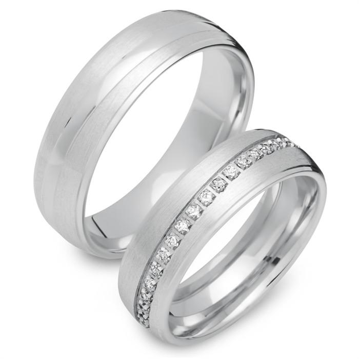 Trauringe 585er Weissgold 33 Diamanten