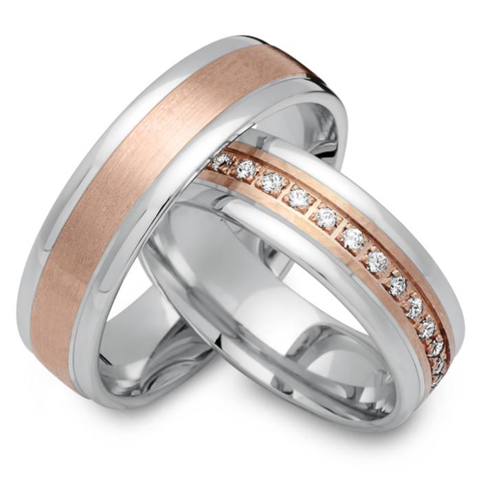Eheringe 333er Rot- Weissgold 33 Diamanten