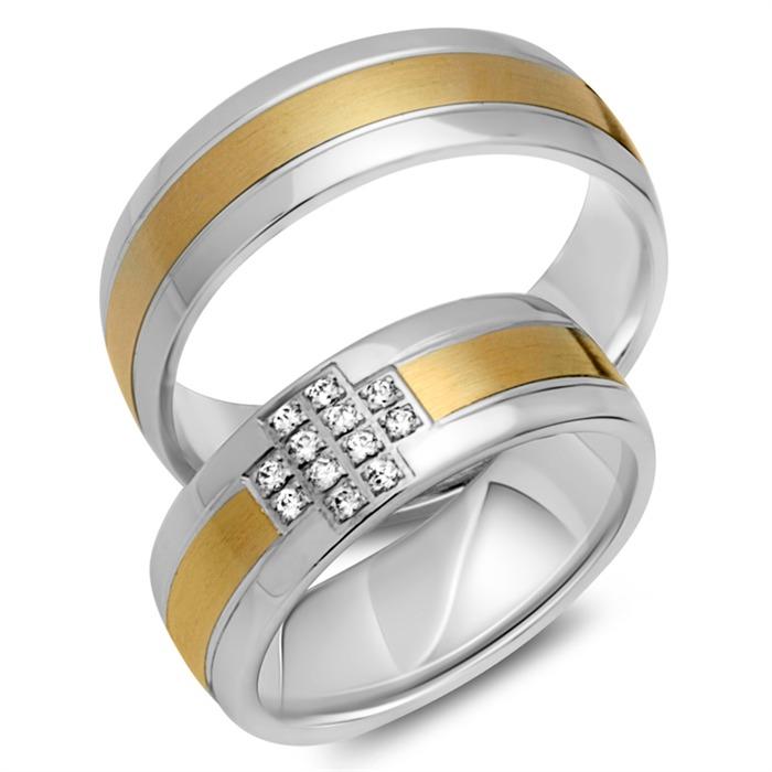 Trauringe 333er Gelb- Weissgold 12 Diamanten