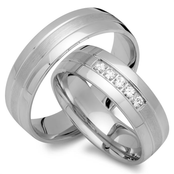 Trauringe 750er Weissgold 5 Diamanten