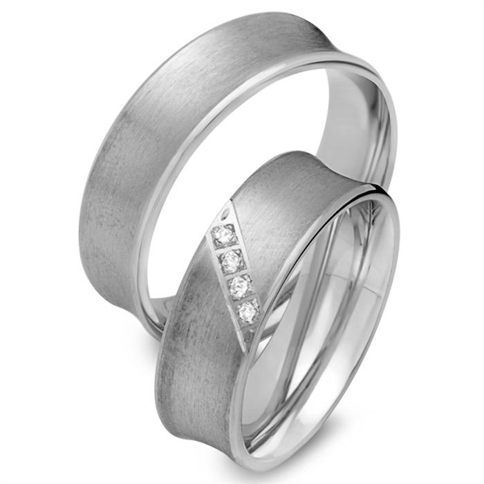 Eheringe 750er Weissgold 4 Diamanten