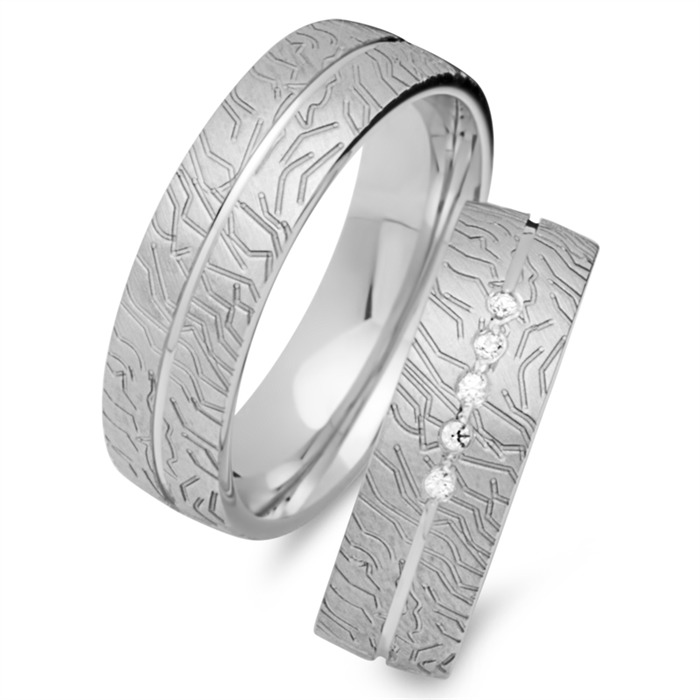 Trauringe 585er Weissgold 5 Diamanten