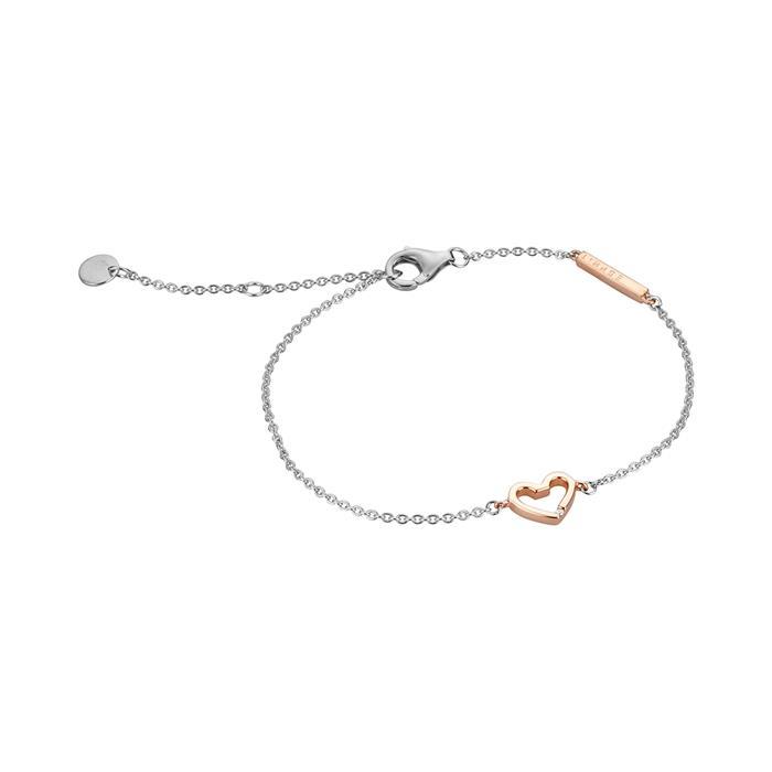 Damenarmband Melody Herz aus 925er Sterlingsilber rosé