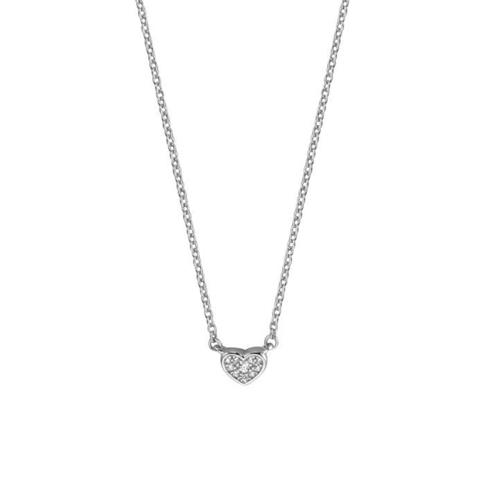 925er Silberkette mit zirkoniabesetztem Herz für Damen