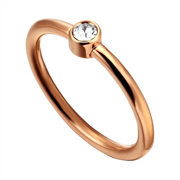 Ring Loris Edelstahl rosévergoldet Zirkonia
