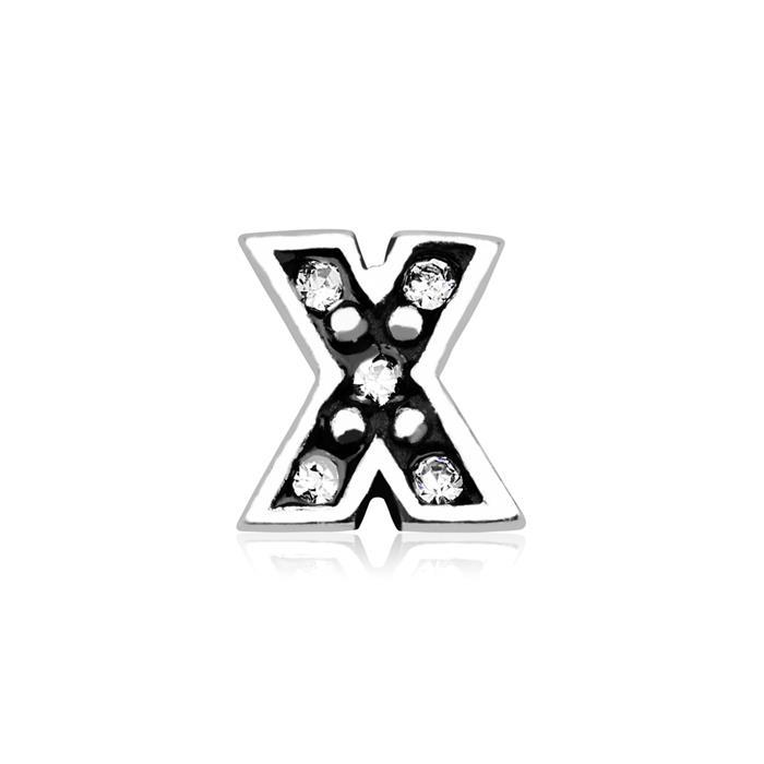 Charm Buchstabe X 925er Silber Zirkonia